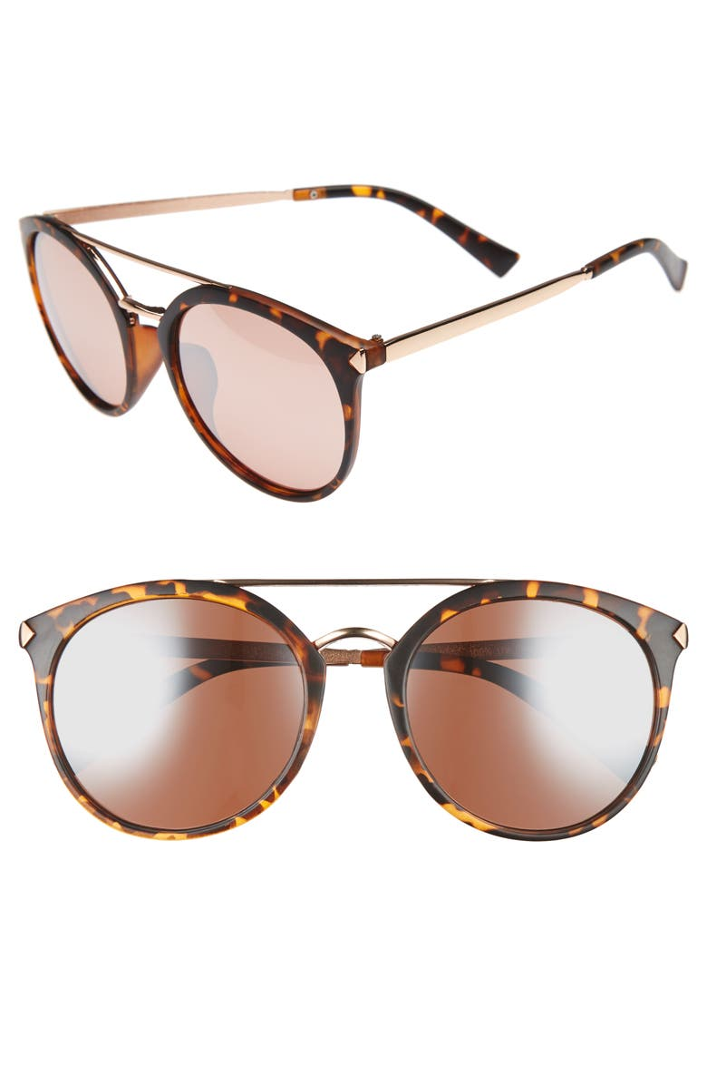 BP. 55mm Mirrored Sunglasses, Main, color, TORT/ ROSE GOLD