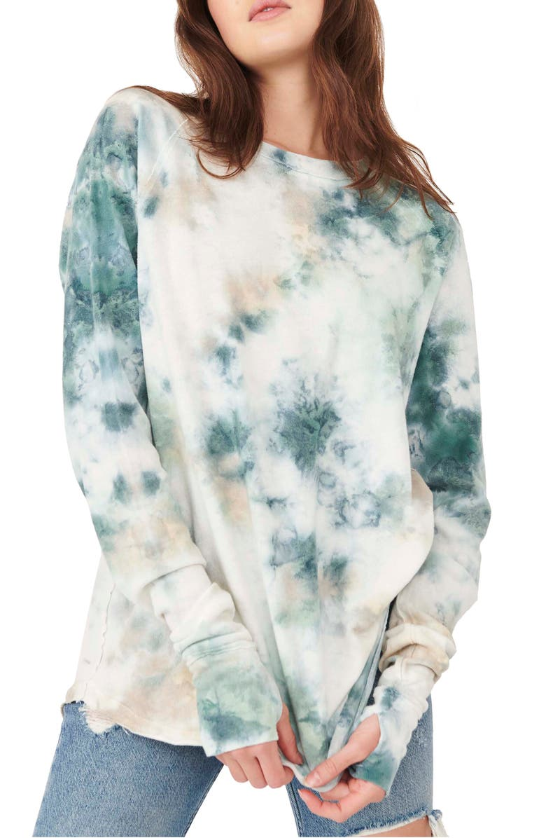 FREE PEOPLE Arden Washed Tie Dye Cotton Top, Main, color, MARINE COMBO