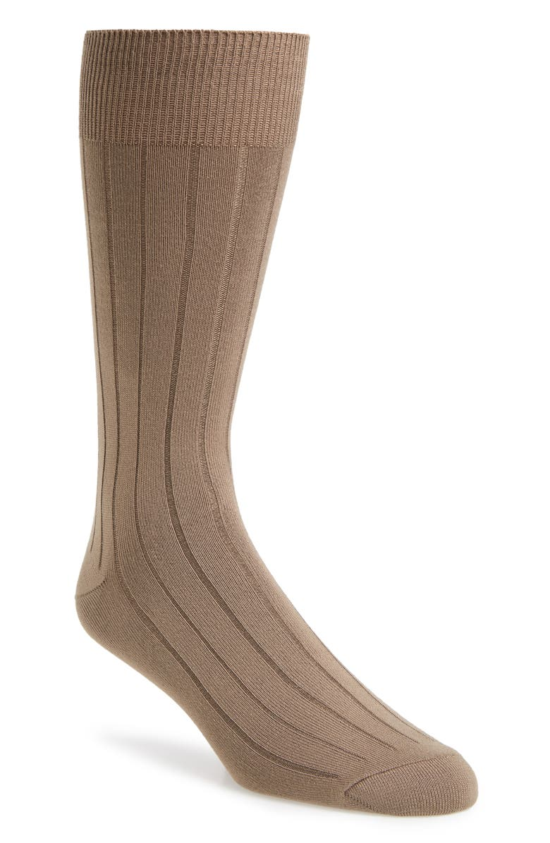 NORDSTROM Ultra Soft Solid Ribbed Socks, Main, color, TAN STUCCO