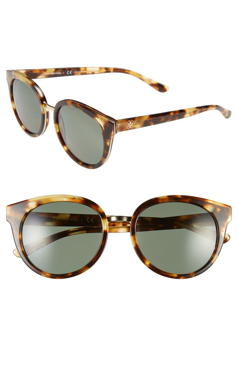 TORY BURCH 53mm Polarized Retro Sunglasses, Main, color, 200