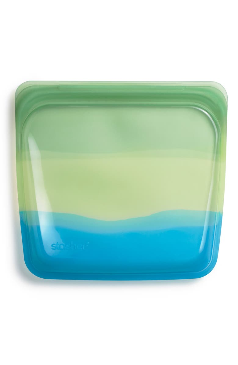 STASHER Sandwich Reusable Silicone Storage Bag, Main, color, GREEN OMBRE