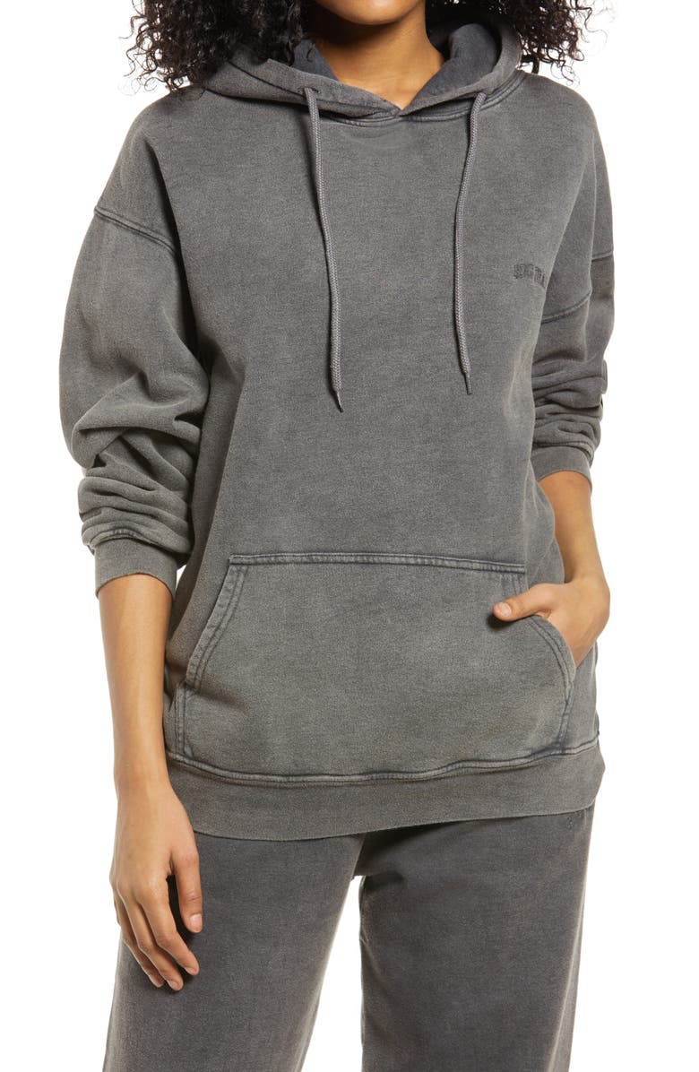 BDG URBAN OUTFITTERS Longline Hoodie, Main, color, CHARCOAL