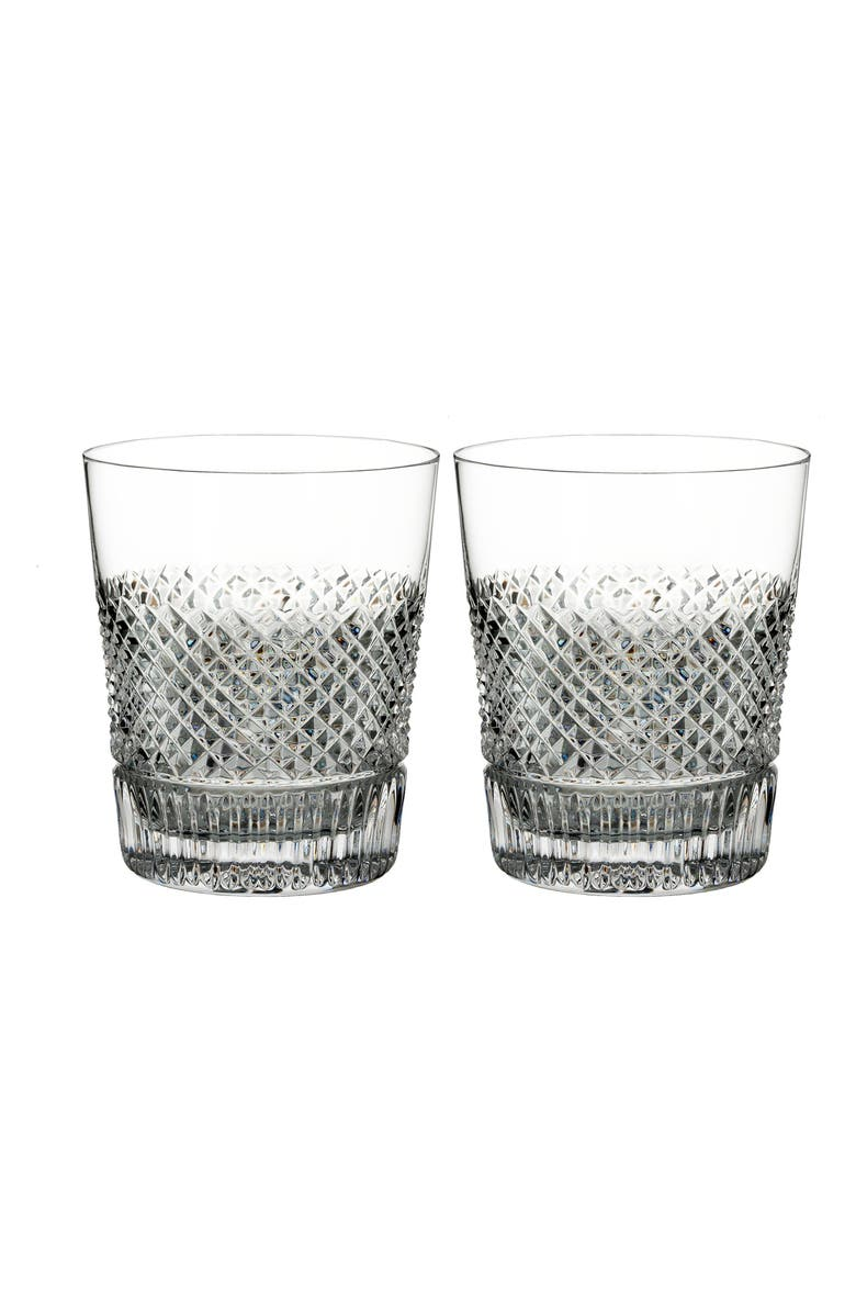WATERFORD Diamond Line Set of 2 Lead Crystal Double Old Fashioned Glasses, Main, color, 100
