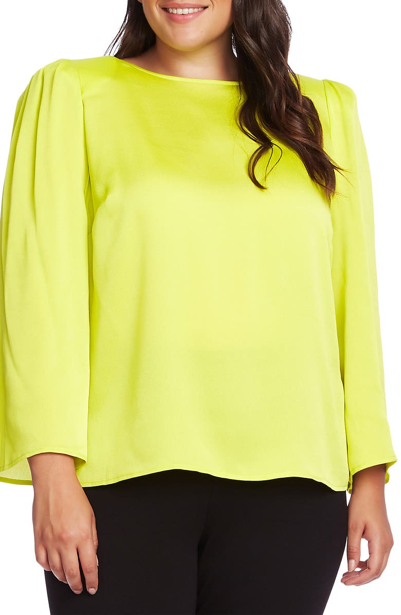 VINCE CAMUTO Hammered Satin Blouse, Main, color, 337-LIME CHROME