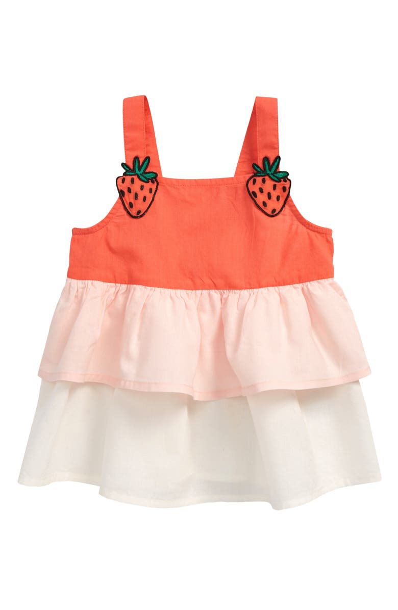 TUCKER + TATE Woven Cotton Tiered Top, Main, color, CORAL GLOW MULTI