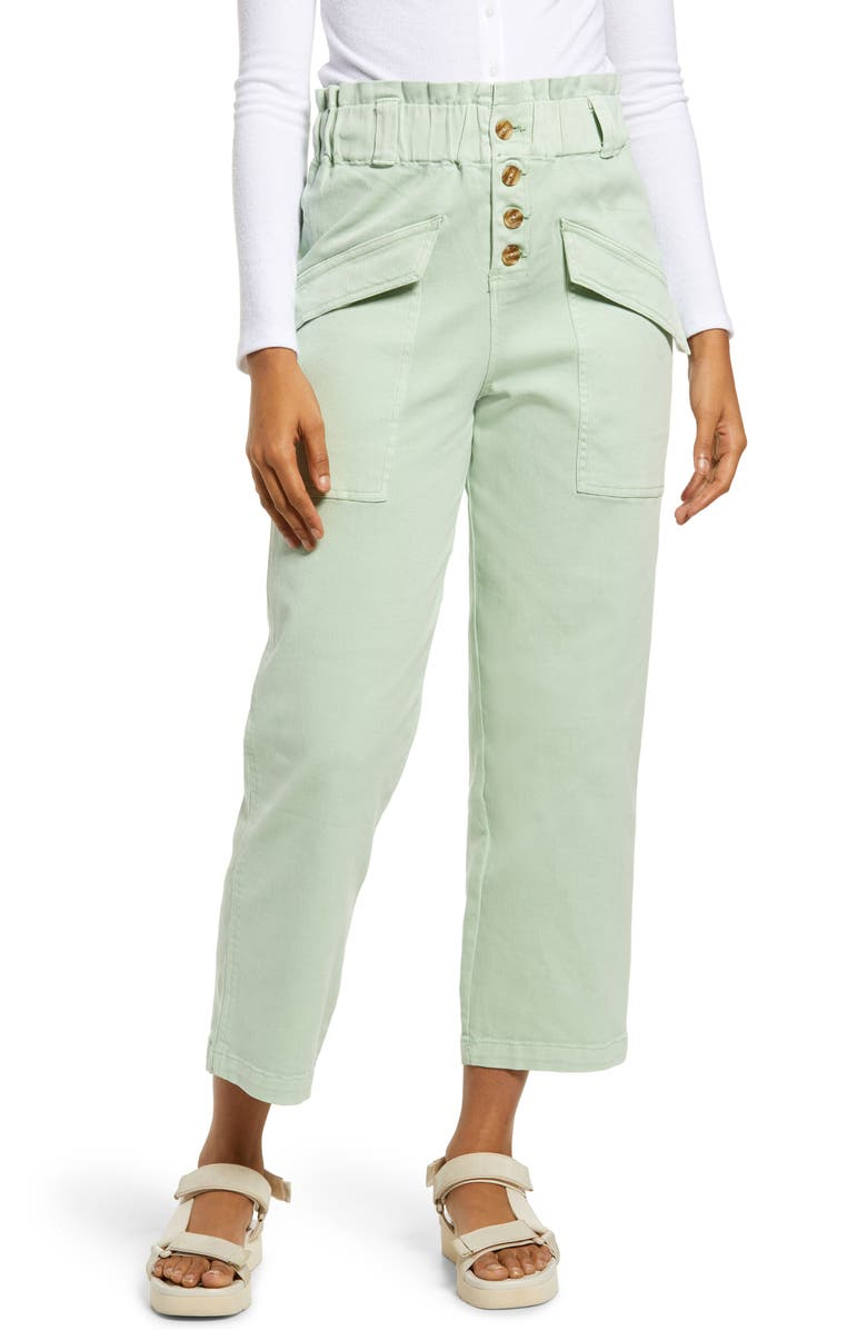 BP. Paperbag Waist Twill Ankle Pants, Main, color, 330