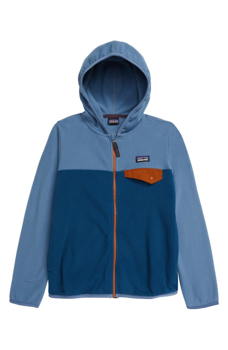 PATAGONIA Micro D<sup>®</sup> Snap-T<sup>®</sup> Hooded Fleece Jacket, Main, color, PIGEON BLUE-PGBE