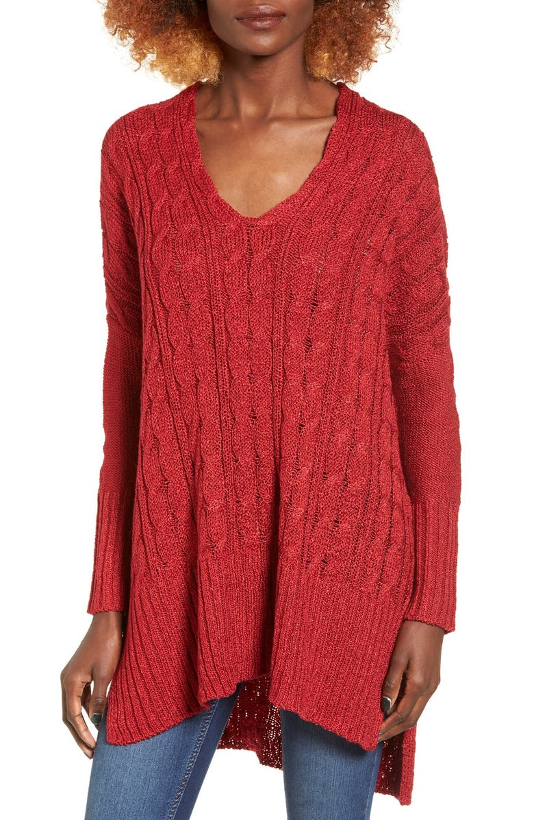 LOVE BY DESIGN Cable Knit Pullover, Main, color, 600