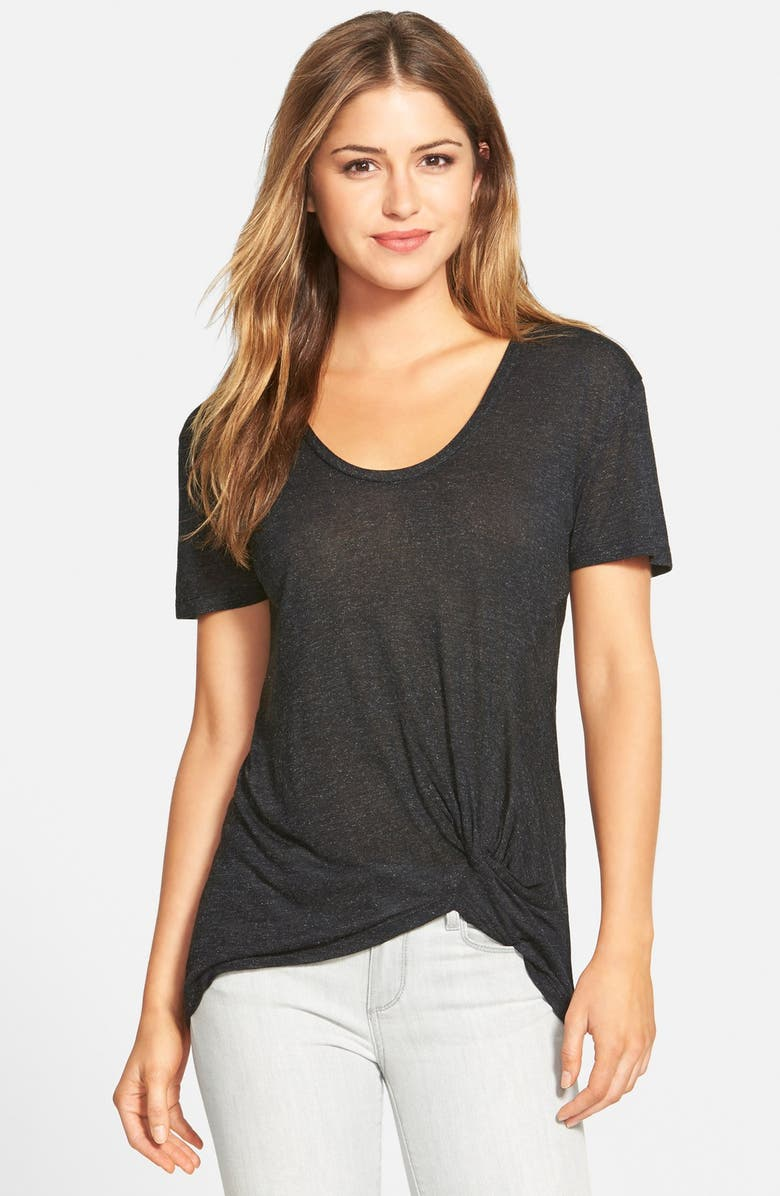 HALOGEN<SUP>®</SUP> Knot Front Tee, Main, color, BLACK