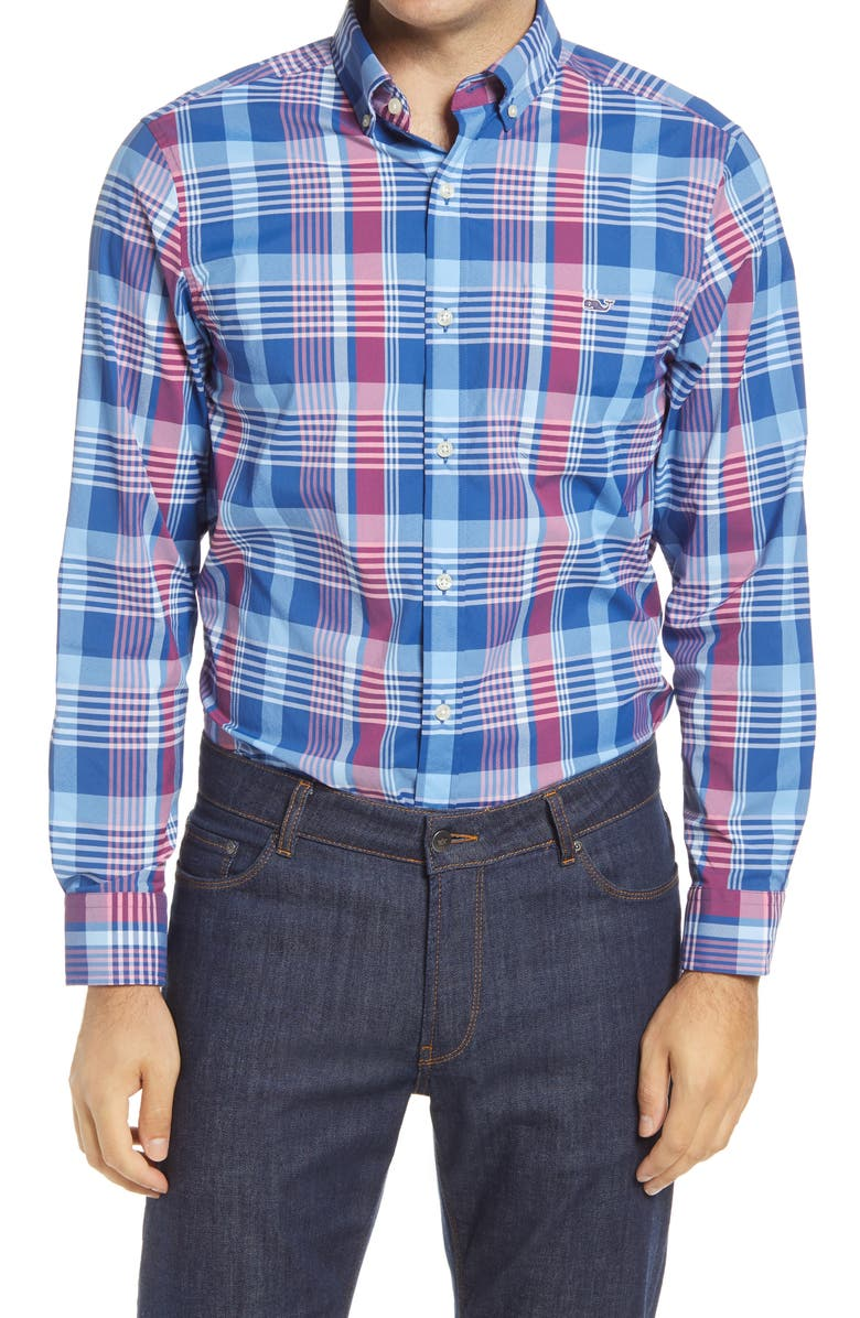 VINEYARD VINES Tucker Classic Fit Plaid Performance Button-Down Shirt, Main, color, BLUE BAY