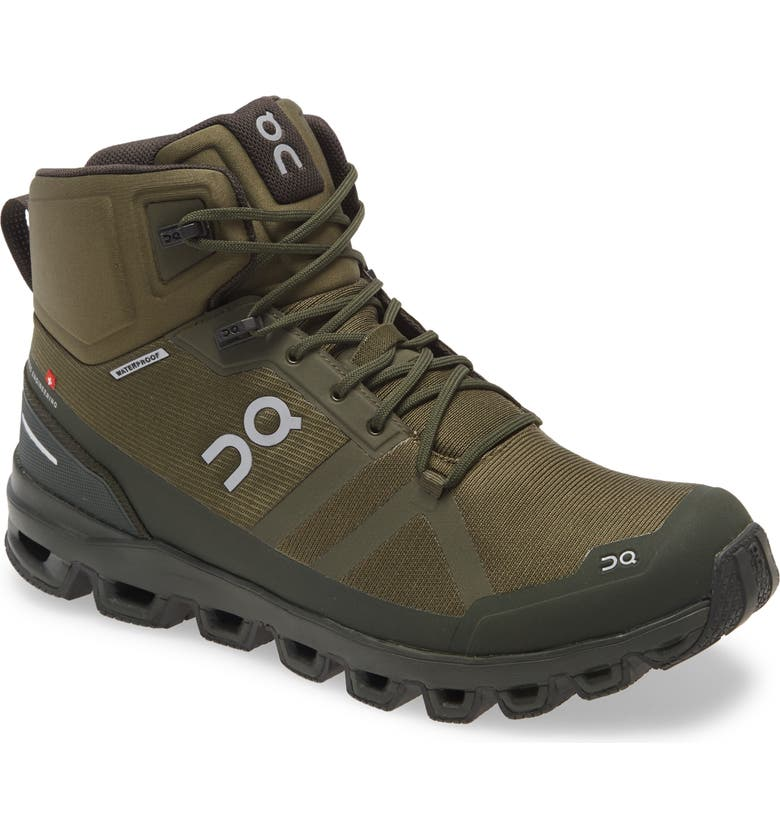 ON Cloudrock Waterproof Hiking Boot, Main, color, JUNGLE/ FIR