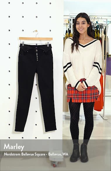 Fold Over Waist Ankle Skinny Jeans, sales video thumbnail