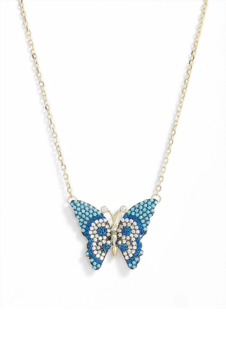 KNOTTY Butterfly Pendant Necklace, Main, color, Gold