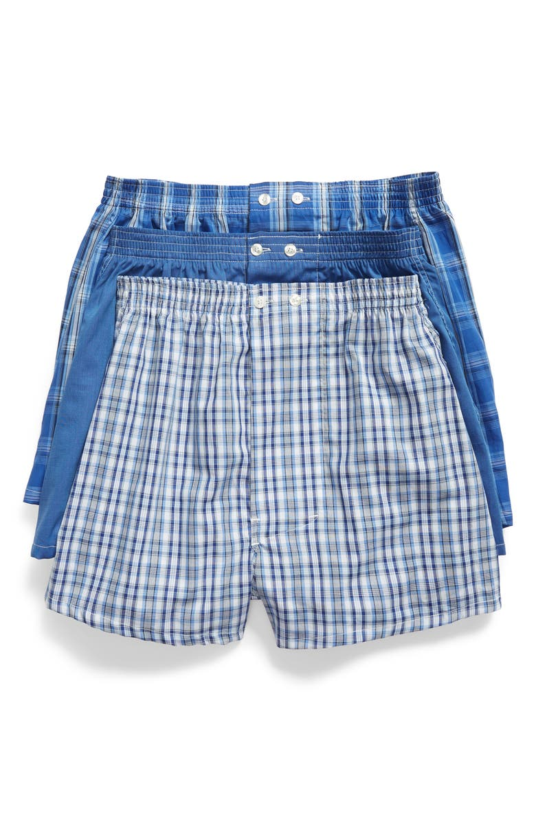 NORDSTROM 3-Pack Classic Fit Boxers, Main, color, BLUE DAZZLE SOLID- PLAID PACK