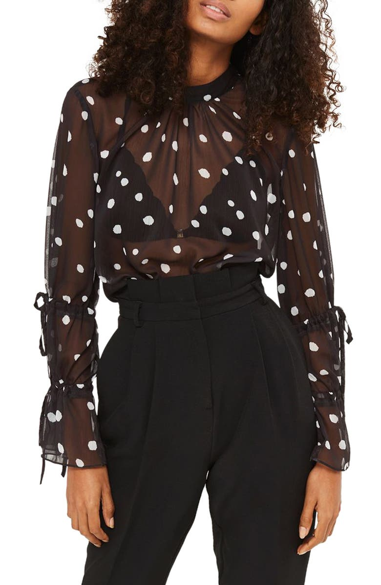TOPSHOP Drawstring Sleeve Sheer Dot Blouse, Main, color, 001