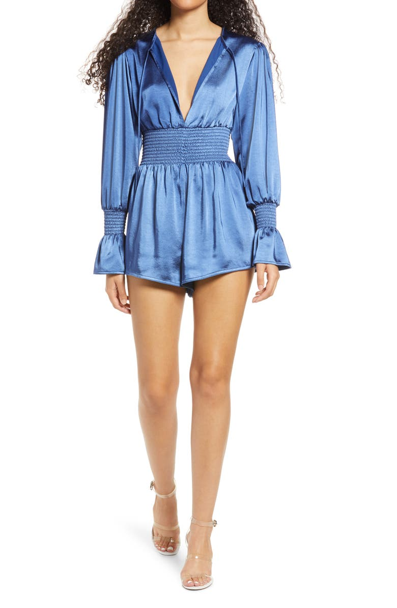 WE WORE WHAT Smocked Sleeve Romper, Main, color, BLUE