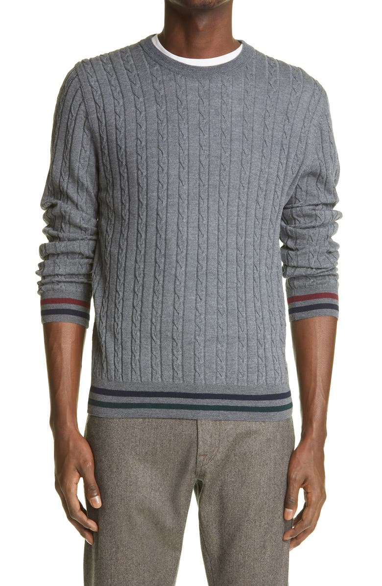 CANALI Cable Wool Crewneck Sweater, Main, color, Grey