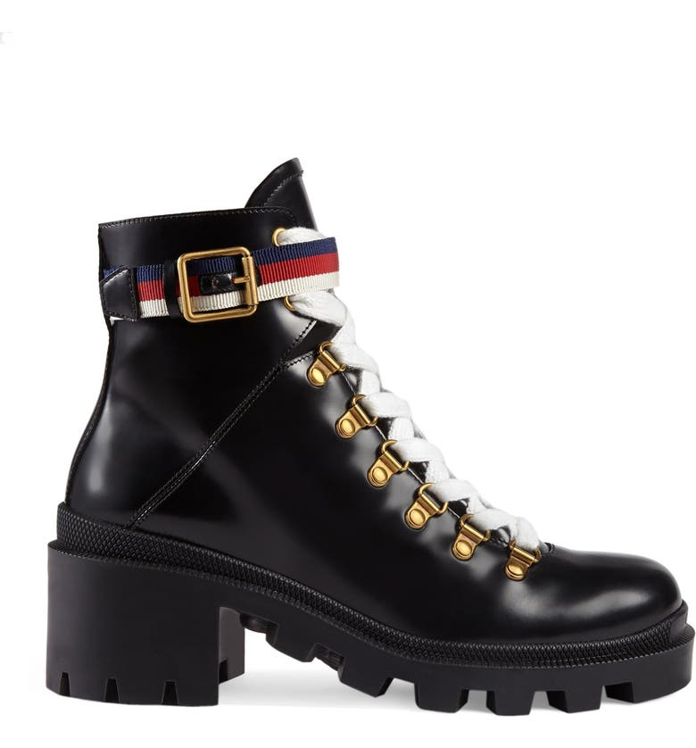 GUCCI Trip Lug Sole Combat Boot, Main, color, BLACK LEATHER