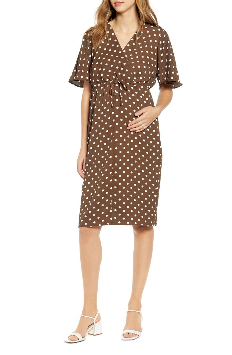 ANGEL MATERNITY Bella Polka Dot Empire Waist Maternity/Nursing Dress, Main, color, BROWN