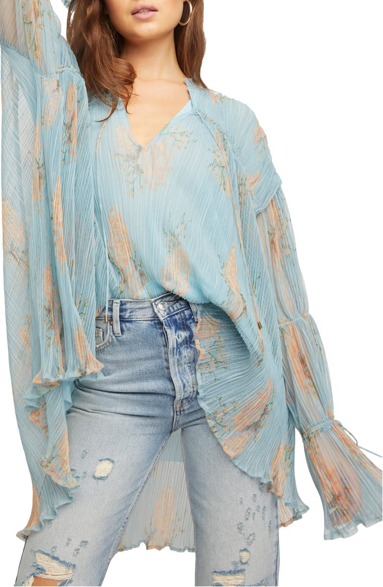 FREE PEOPLE Tie Neck Bell Sleeve Tunic Blouse, Main, color, DARK COMBO