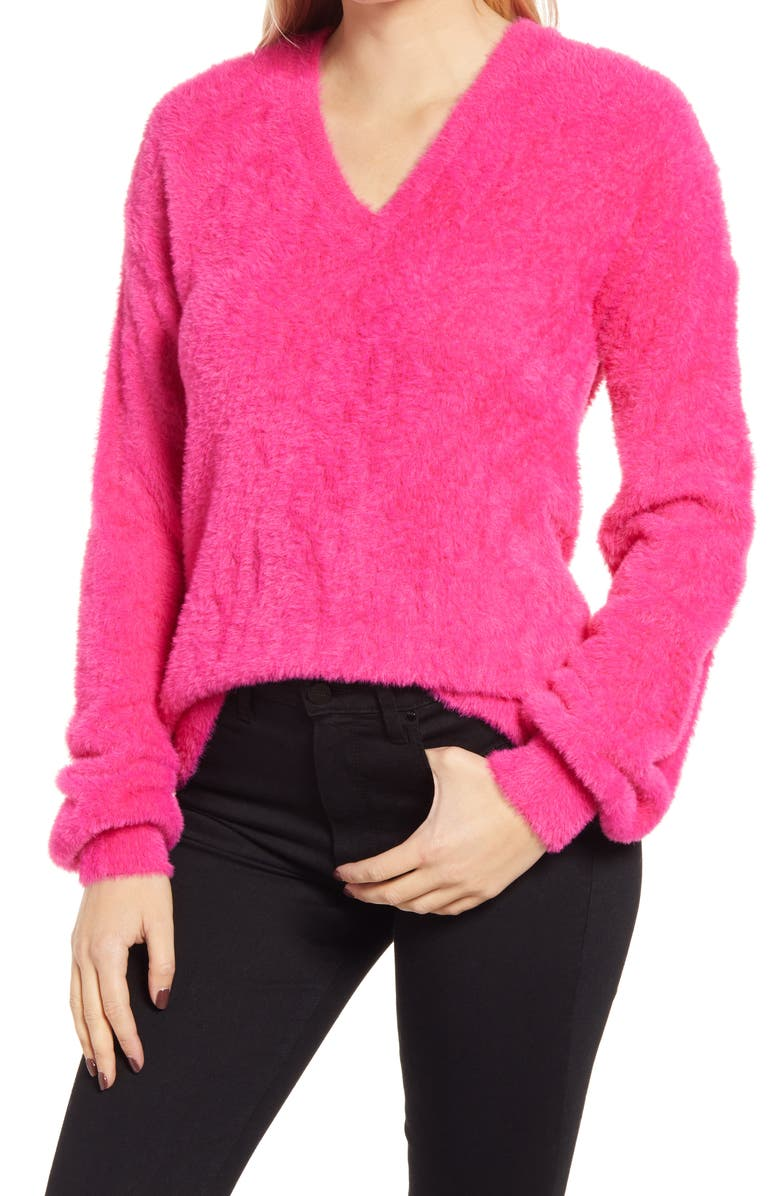 HALOGEN<SUP>®</SUP> Fuzzy V-Neck Sweater, Main, color, PINK FLASH