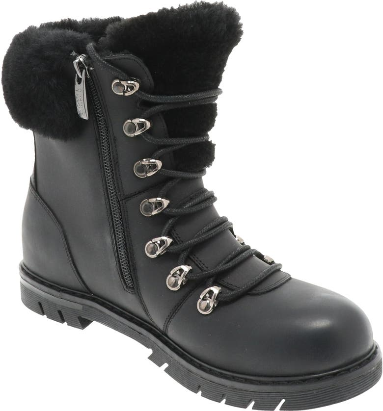 ROYAL CANADIAN Stratford Genuine Shearling Cuff Waterproof Boot, Main, color, BLACK LAGER LEATHER