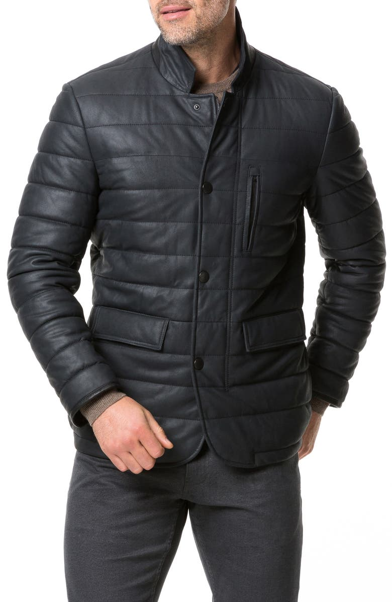 RODD & GUNN Ashwell Channel Quilted Leather Blazer, Main, color, ONYX