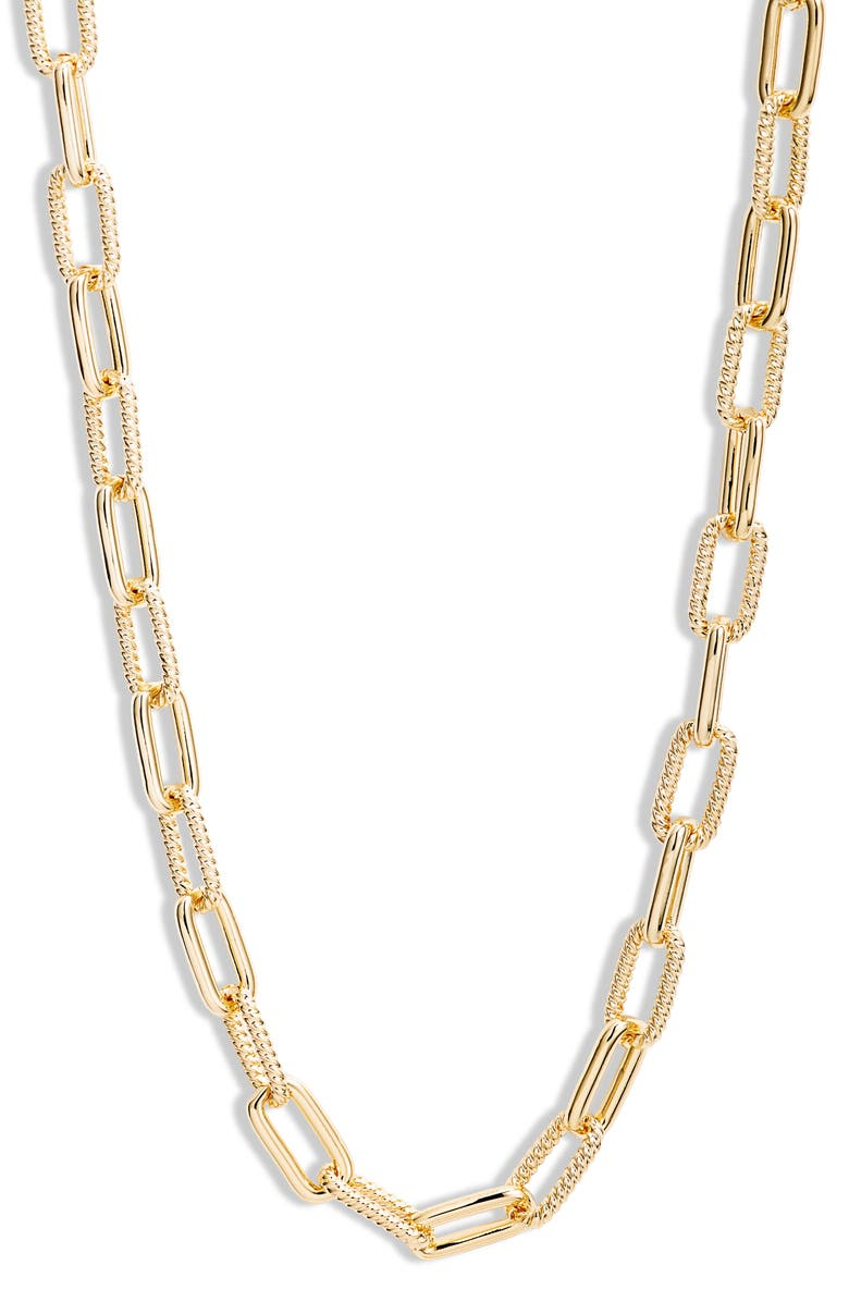 NORDSTROM Textured Link Necklace, Main, color, GOLD