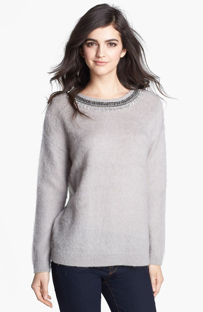 HINGE <sup>®</sup> Jewel Neck Textured Sweater, Main, color, 020