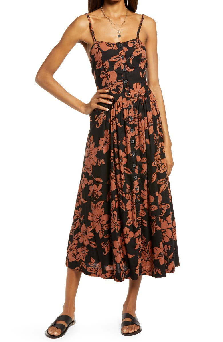 FREE PEOPLE The Perfect Floral Sundress, Main, color, DARK COMBO