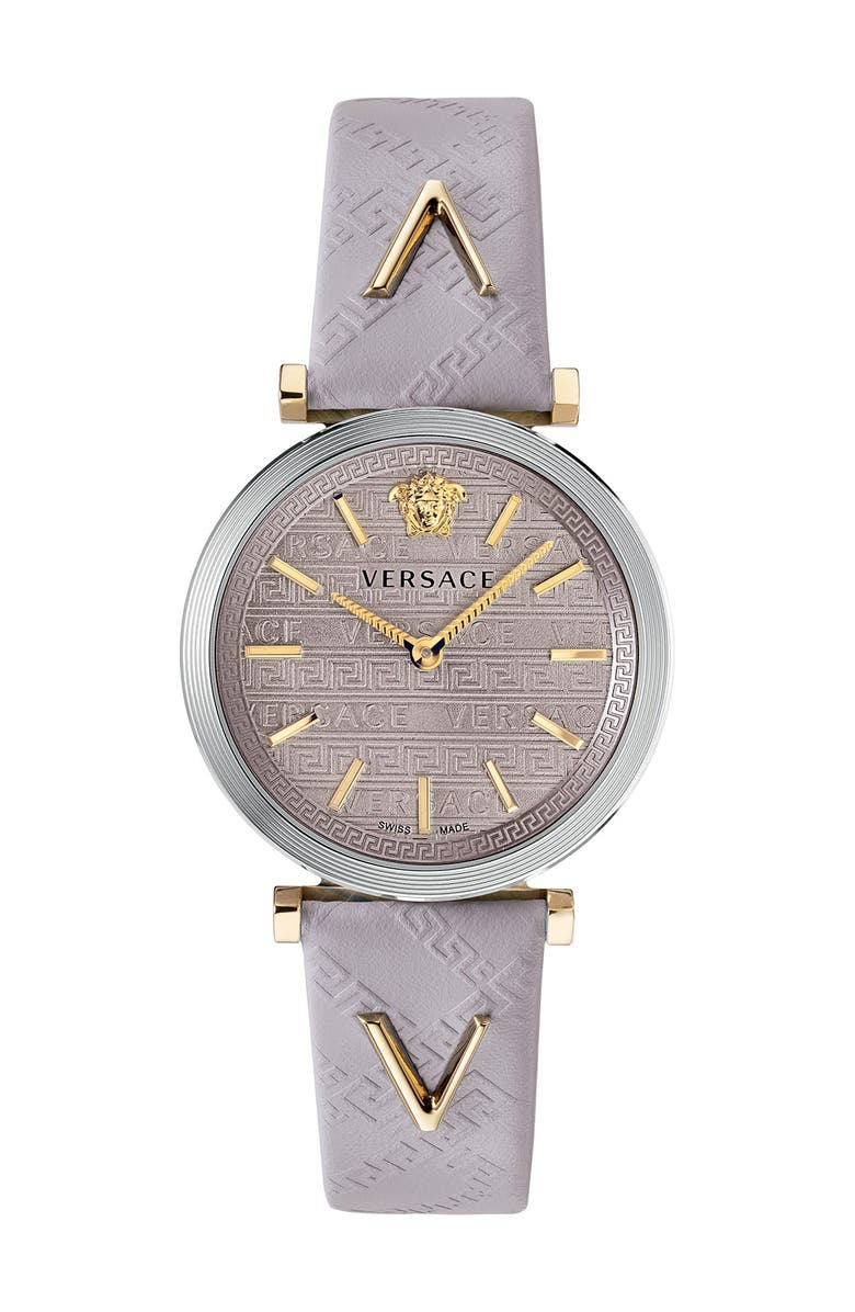 VERSACE Women's V-Twist Light Pink Leather Strap Watch, 36mm, Main, color, TWO TONE