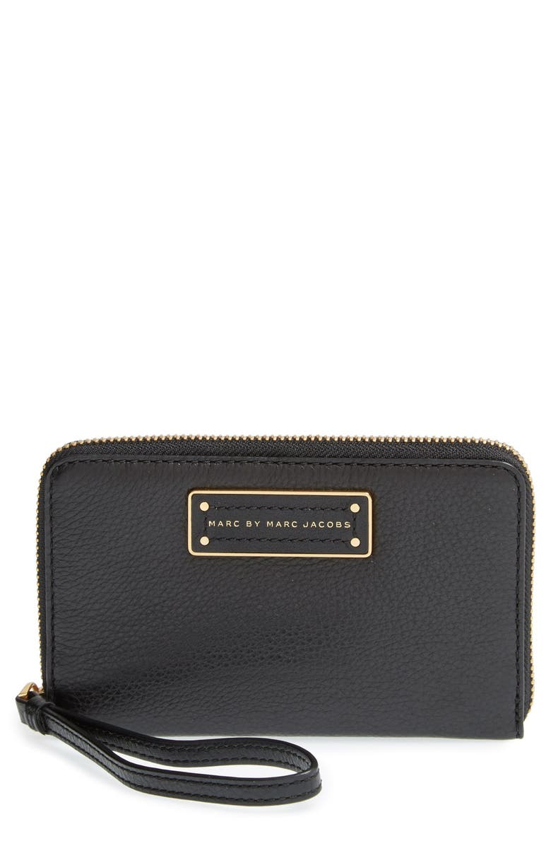 MARC JACOBS MARC BY MARC JACOBS 'Too Hot To Handle - Wingman' Wallet Wristlet, Main, color, 001