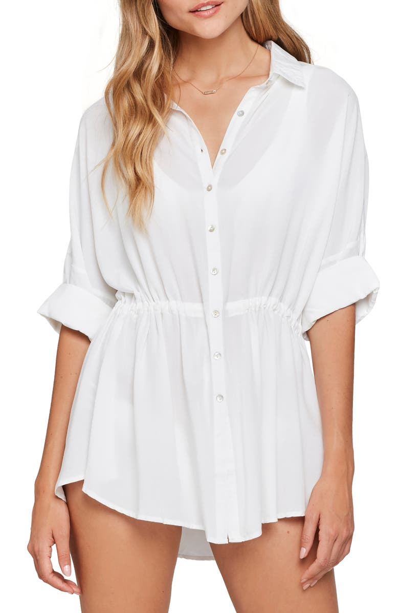 L SPACE Pacifica Cover-Up Tunic, Main, color, WHITE