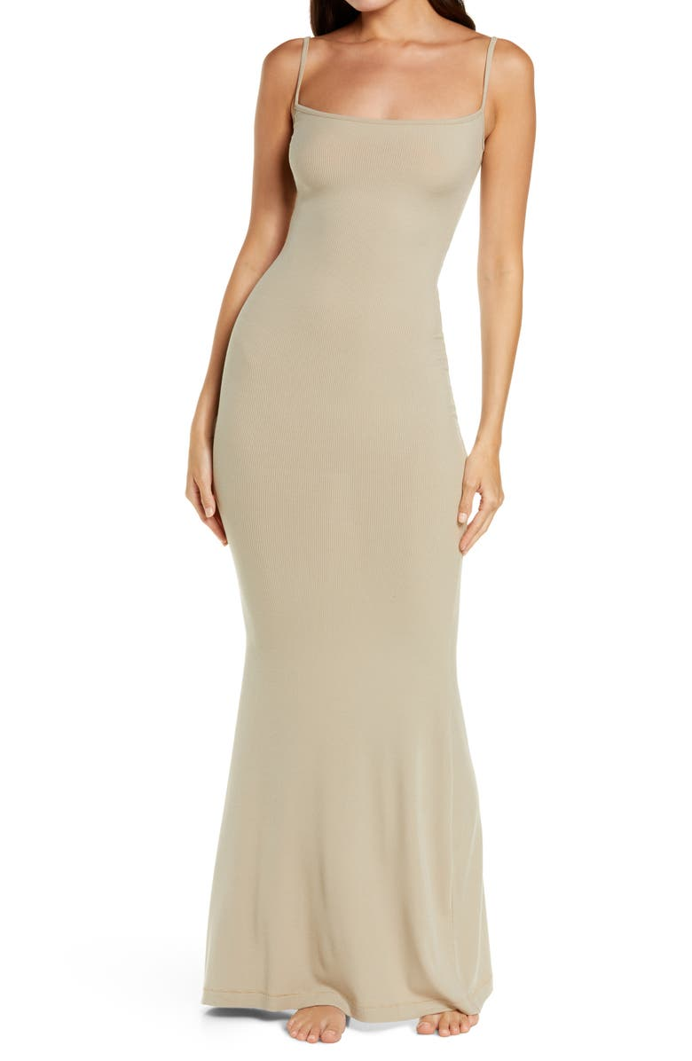 SKIMS Ribbed Long Slipdress, Main, color, TAUPE