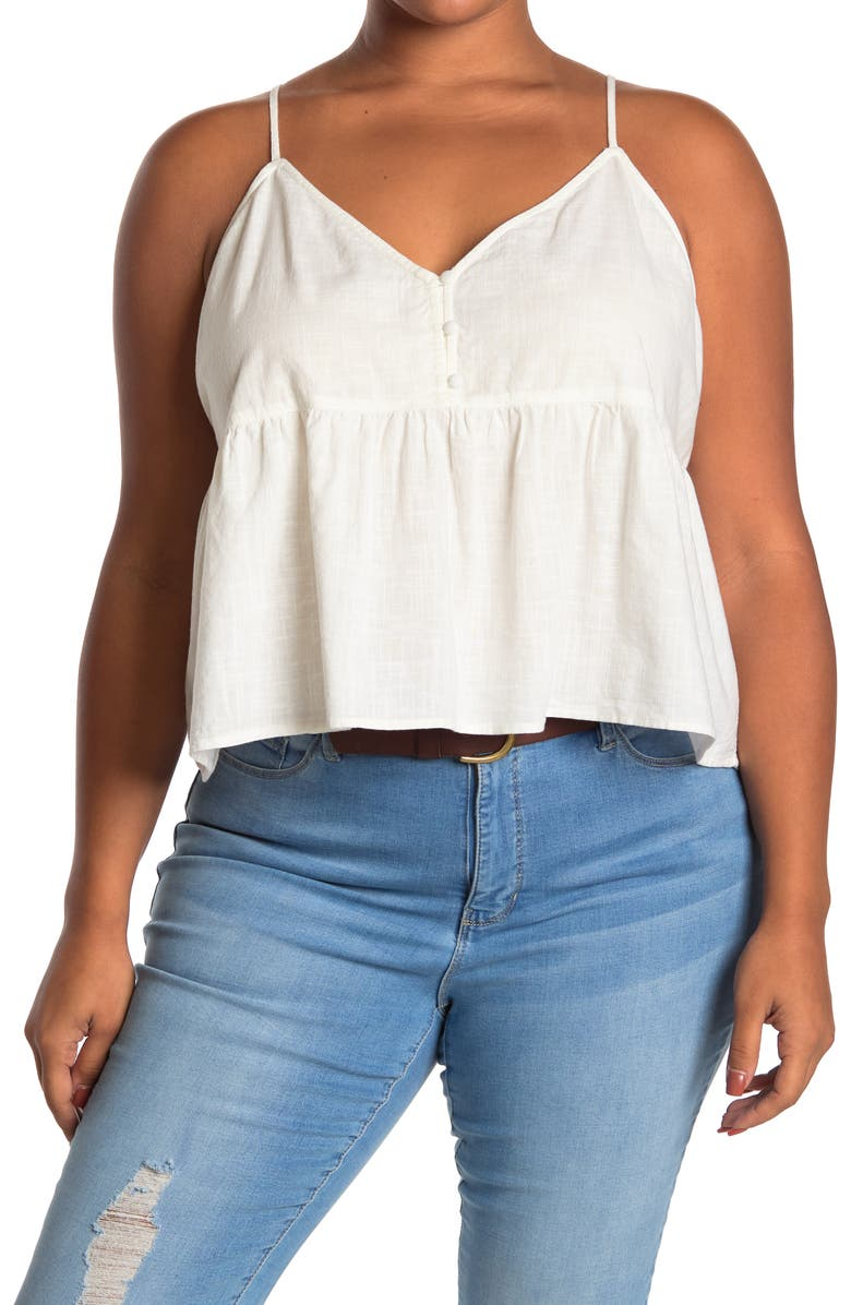 ABOUND Button Front Peplum Camisole, Main, color, IVORY