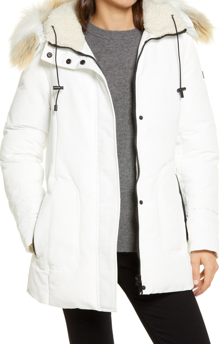 SAM EDELMAN Short Parka with Faux Fur Trim, Main, color, WHITE