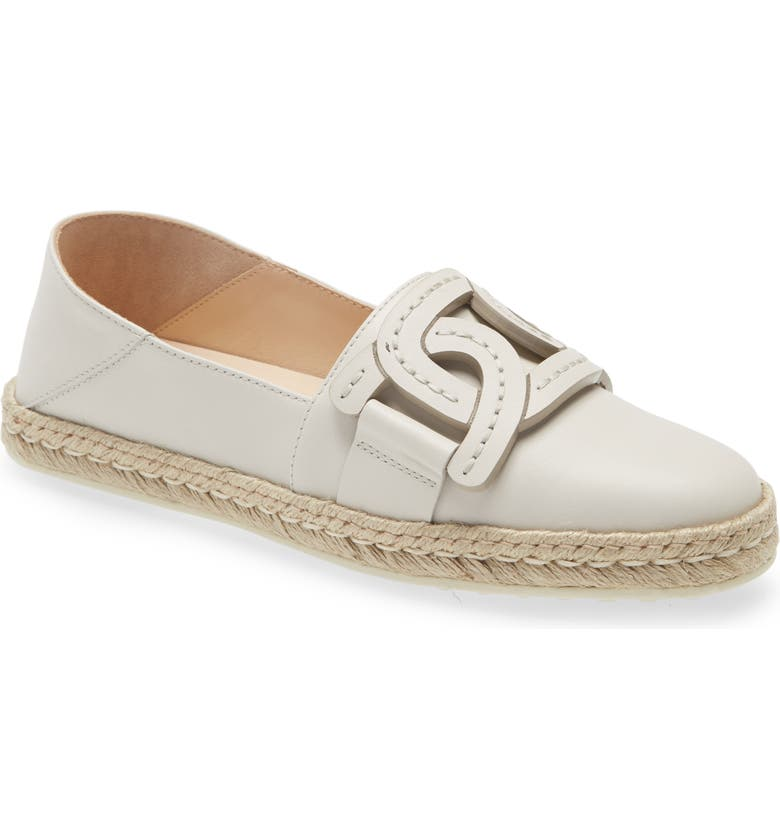 TOD'S Kate Chain Detail Convertible Espadrille Flat, Main, color, WHITE