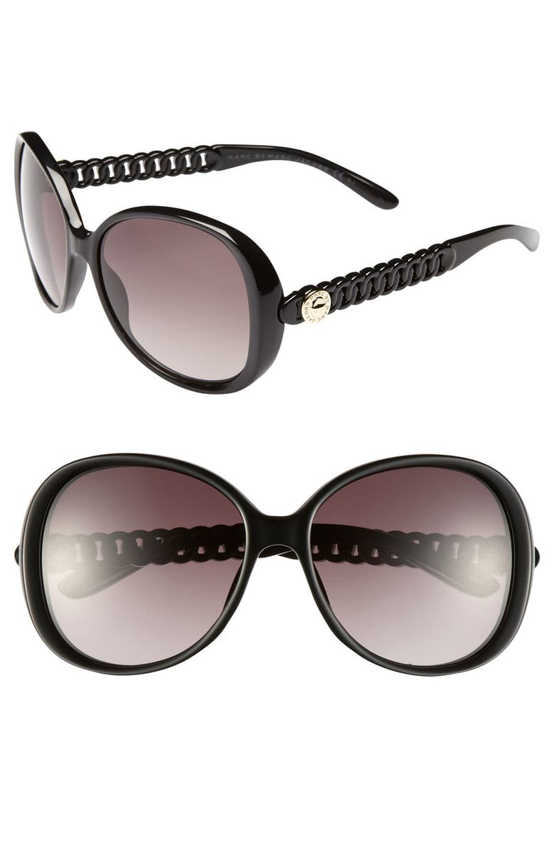 MARC BY MARC JACOBS 58mm Oversized Sunglasses, Main, color, SHINY BLACK