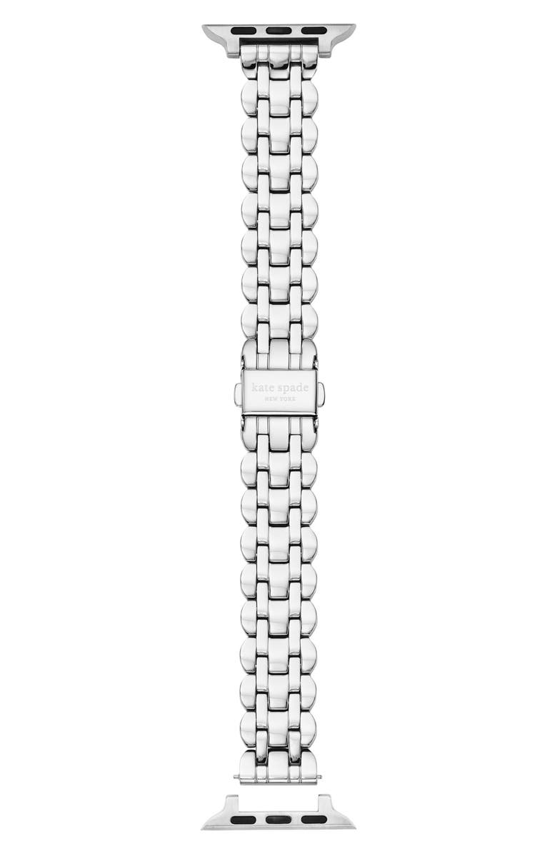 KATE SPADE NEW YORK scallop 38/40mm ceramic Apple Watch<sup>®</sup> bracelet strap, Main, color, SILVER
