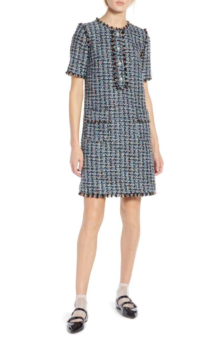 HALOGEN<SUP>®</SUP> x Atlantic-Pacific Fringe Tweed Dress, Main, color, 001