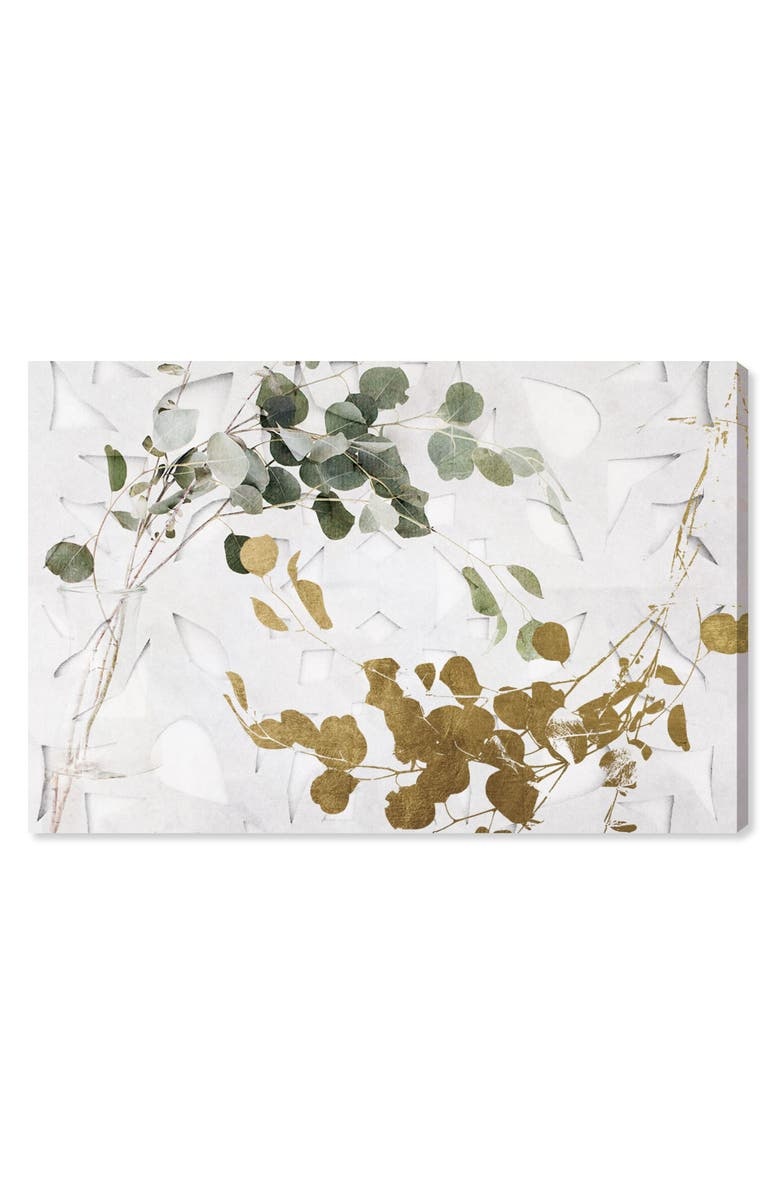 OLIVER GAL Golden Leaves Canvas Wall Art, Main, color, WHITE