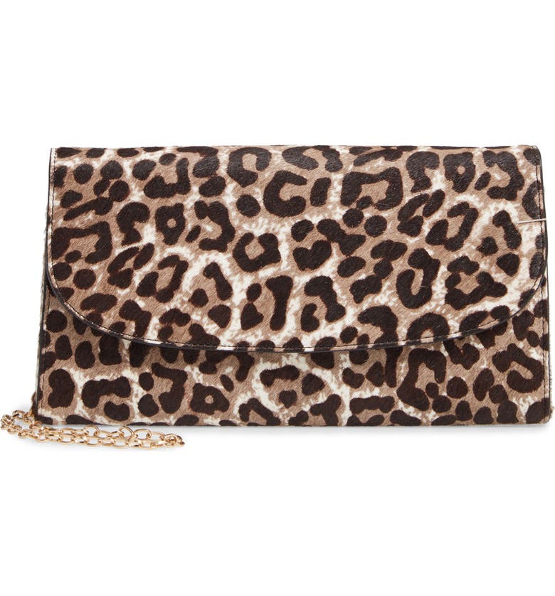NORDSTROM Genuine Calf Hair Leopard Print Clutch, Main, color, 030