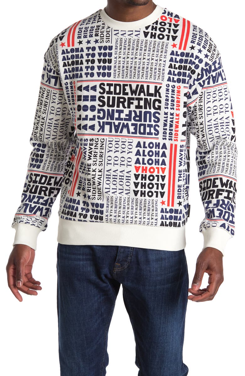 SCOTCH AND SODA Sidewalk Surfing Crewneck Sweater, Main, color, 0217-COMBO A
