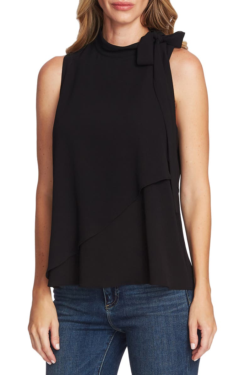 VINCE CAMUTO Sleeveless Tie Neck Top, Main, color, 006
