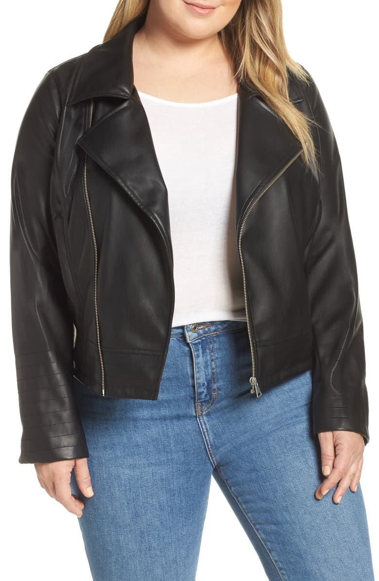 HALOGEN<SUP>®</SUP> Quilted Faux Leather Moto Jacket, Main, color, Black
