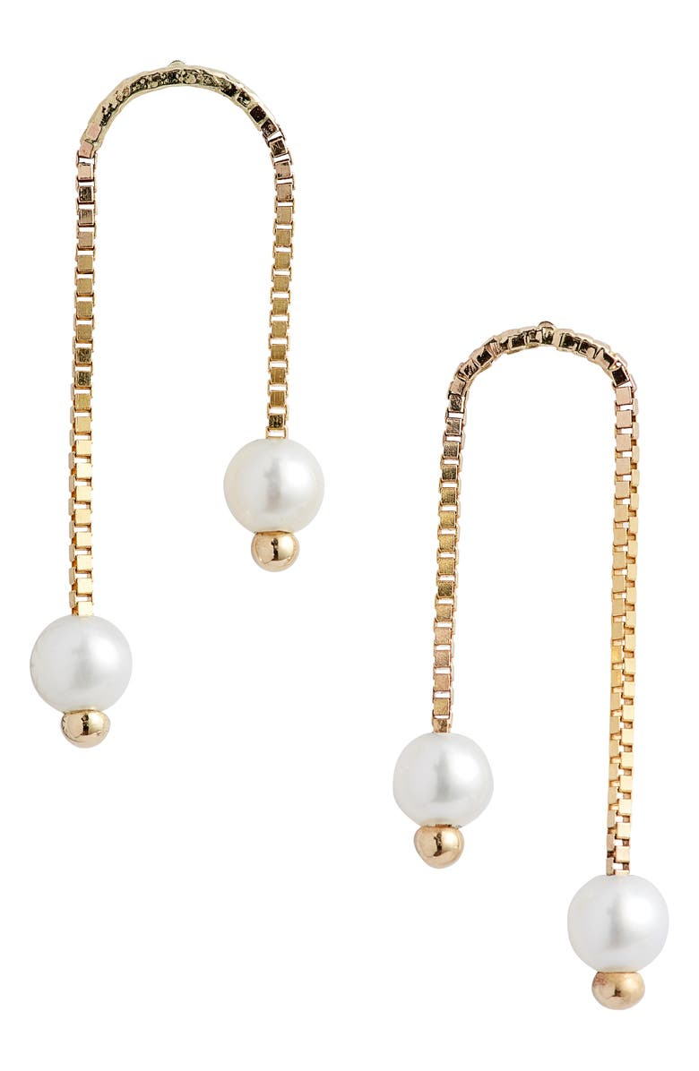 POPPY FINCH Box Chain Double Cultured Pearl Earrings, Main, color, YELLOW GOLD