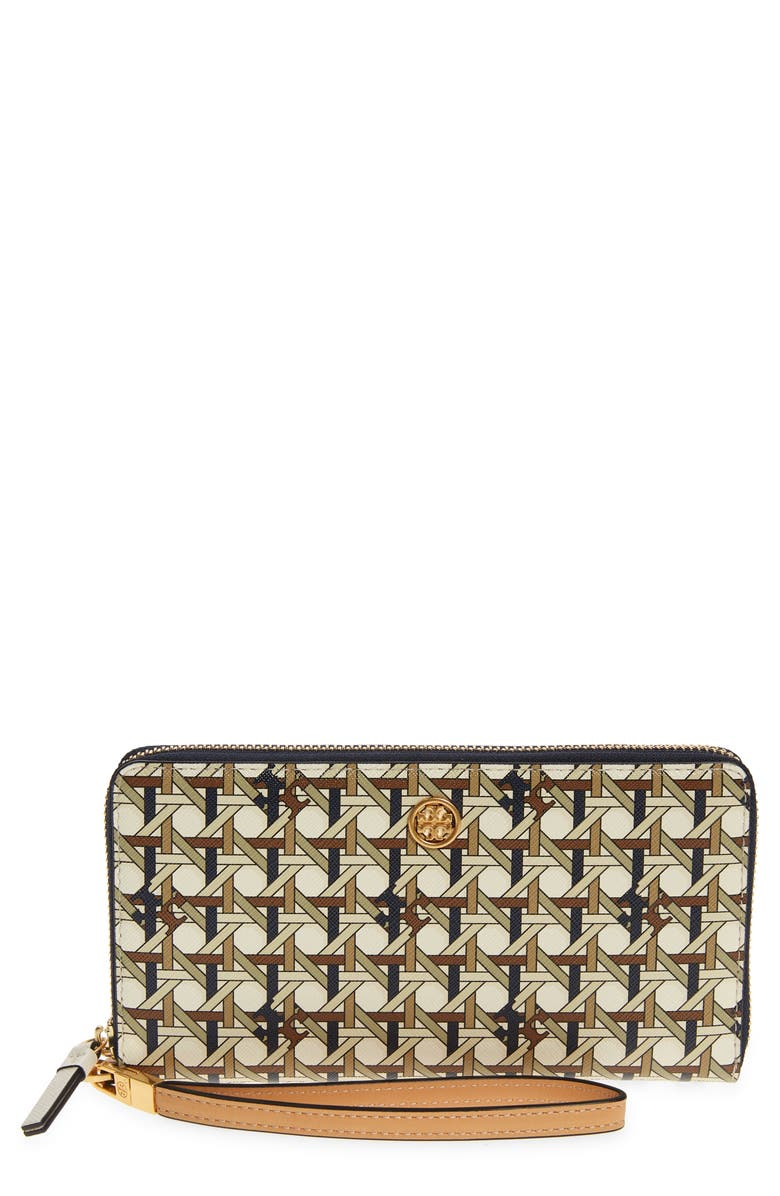 TORY BURCH Robinson Coated Leather Continental Wallet, Main, color, IVORY CANING LOGO GEO