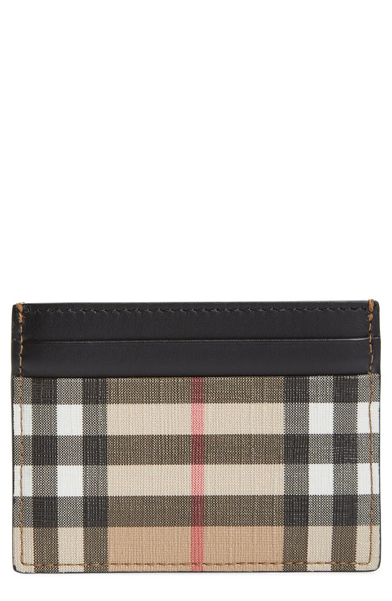 BURBERRY Sandon Vintage Check Card Case, Main, color, 250