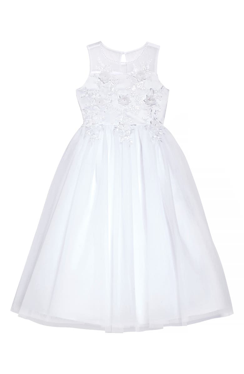 US ANGELS Floral Embroidered Tulle First Communion Dress, Main, color, White