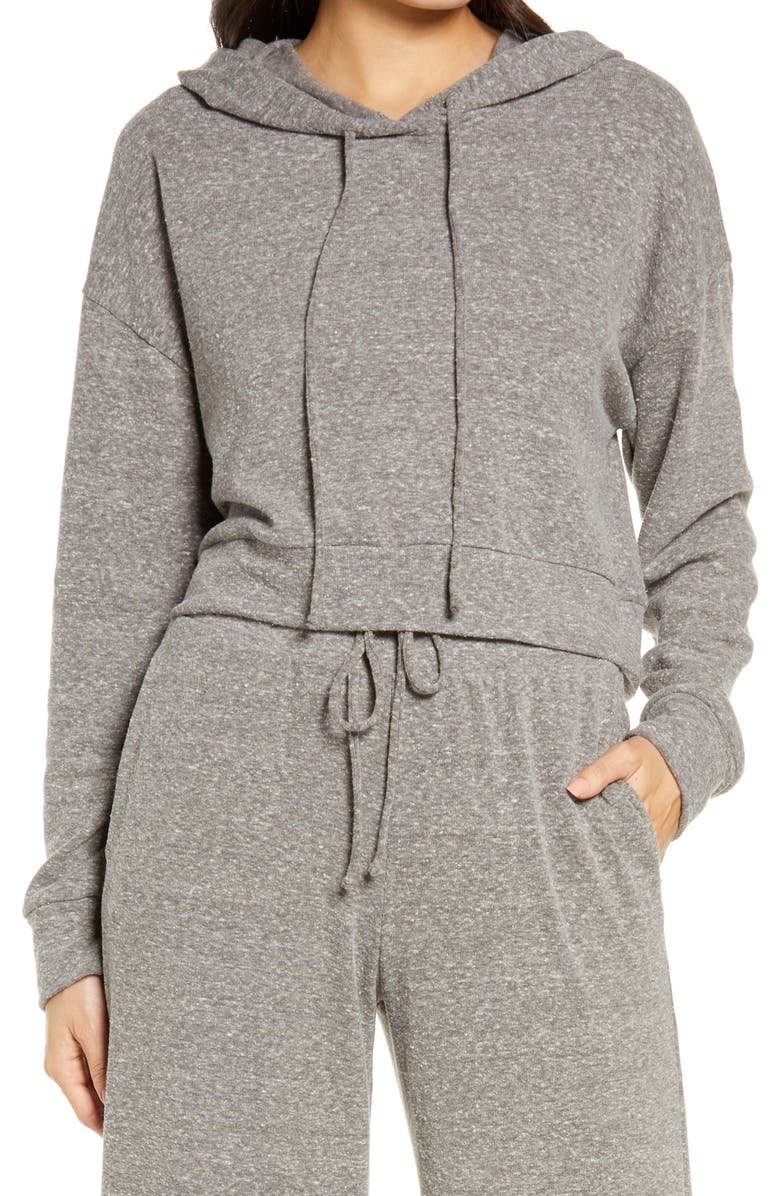 SOCIALITE Brushed Crop Hoodie, Main, color, HEATHER CHARCOAL